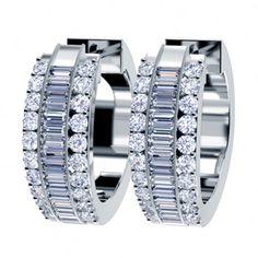 Baguette Diamond Hoop Earrings