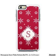Monogram Snowflakes Pattern Red White OtterBox iPhone 6/6s Plus Case