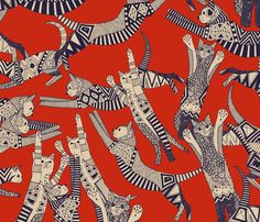 Cat Party Retro - by Scrummy. Wallpaper – Shop for Wallpaper By Indie Designers – Spoonflower