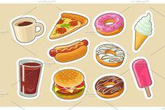 Set fast food. Donut, ice cream, pizza, hamburger, pizza, hotdog - Objects