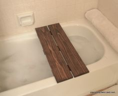 DIY Spa Bath Tub Shelf.  Use it as a bench OR a shelf!