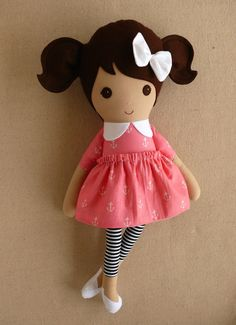 Fabric Doll Rag Doll Brown Haired Girl in Pink by rovingovine