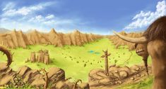 World of Warcraft - Tauren looking at Mulgore landscape. (painting of landscape after long time :D ) digital painting