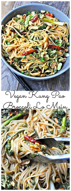 Oct 4, 2017 - Vegan Kung Pao marinated broccoli sauteed with garlic, ginger and chilies. Tossed with Lo mein noodles and topped with peanuts. Spicy perfection!