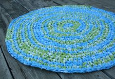 SunShine-N-Such Blue and Green Round Crochet Rag Rug