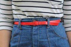 stripes.high-waisted denim.neon belt.