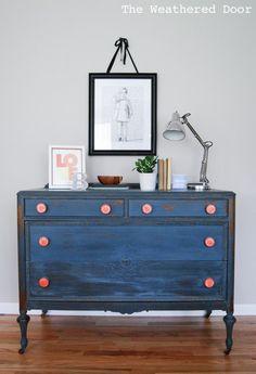 Soldier Blue Dresser with Orange Knobs WD-1