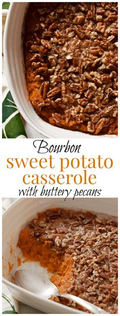Sweet potato casserole with bourbon and a buttery pecan crust - lightened up with a little less sugar and butter for a perfectly balanced holiday side dish!   FamilyFoodontheTable.com