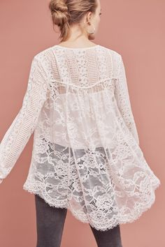 NEW Anthropologie Womens Top Scalloped Lace Henley Floreat Sheer Size Petite Sheer Lace Top, Lace Tops, Fashion Now, Fashion Outfits, Fall Outfits, French Capsule Wardrobe, Lace Jacket, Petite Outfits, Outfits