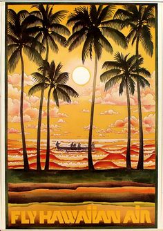 Vintage Hawaiian Air Poster - love palm trees