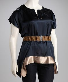 Take a look at this Madison Paige Navy & Taupe Color Block Belted Top - Plus on zulily today!