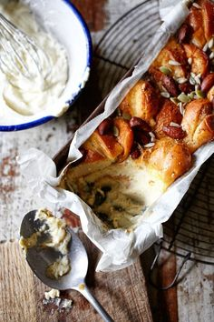 Apricot Bread & Butter Pudding with Cream