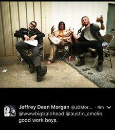 Neegan, Daryl, Dwight behind the scenes   The Walking Dead