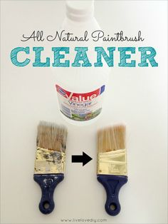 Brush Cleanup: Left Brush: Soaked in hot water only. Right Brush: VINEGAR AND HOT WATER. (10 Paint Secrets: tips & tricks you never knew about paint. Great info!)