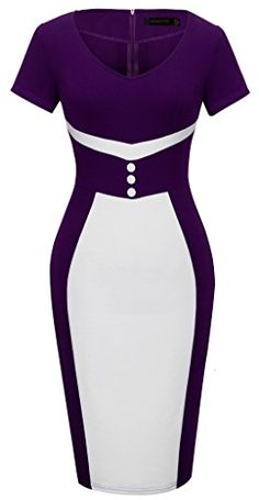 HOMEYEE Womens Elegant Business Purple Casual Cocktail Bodycon Dress B321 8 Purple ** Continue to the product at the image link.
