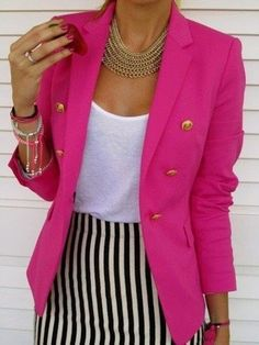 How to Wear a Hot Pink Blazer For Women looks & outfits) Blazers Rosa, Hot Pink Blazers, Looks Style, Style Me, Classic Style, 80s Style, Pink Style, Classic White, Look Fashion