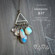 Elements: Air - Alchemy Symbolism Sterling Silver Pendant Labradorite Moonstone Opalite Rock Crystal Larimar Ice Quartz White Topaz by Mayahelena on Etsy Moonstone Necklace, Moonstone Pendant, Pendant Necklace, Jewelry Design, Jewelry Ideas, Diy Jewelry, Wire Jewellery, Designer Jewelry, Metal Jewelry