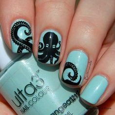 Aqua nails black octopus decal