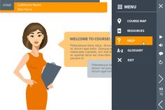Storyline course template for e-learning. Cool custom course map and glossary.