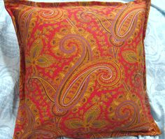 "EDMONTON PAISLEY Custom Pillow Shams  - Ralph Lauren Fabric  - Square Size 16"" x 16"" - 100% Cotton"