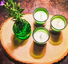 Candle Gift Set Trio Votive Candle Set in Green by TextileandType