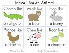 Move Like an Animal Cards -- OT, sensory, brain breaks... Animal imitation cards.