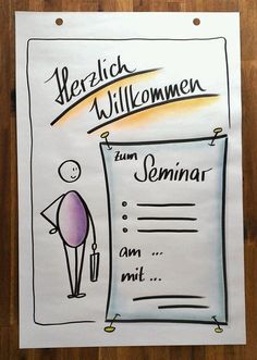 Welcome Flipchart flipchart training flipchart seminar flipchart workshop seminars and workshops in flipchart design Visual Thinking, Design Thinking, Workshop, Sketch Notes, Pictogram, Bullet Journal, Templates, Fitness, Inspiration
