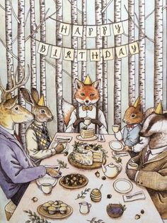Woodland Birthday Tea Party Card by RivuletPaperShop on Etsy