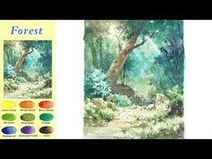 Without Sketch Landscape Watercolor - Forest (wet-in-wet, Arches rough) NAMIL ART Watercolor Video, Watercolour Tutorials, Watercolor Techniques, Watercolor Landscape, Watercolor Paintings, Watercolours, Art Tutorials, Painting Tutorials, Art Reference