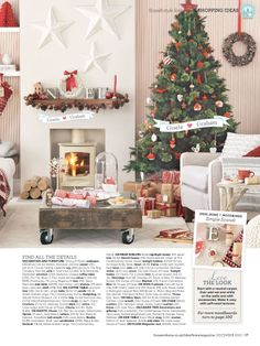 Gisela Graham Ideal Home December press. Scandi christmas decoration ideas