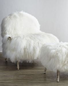 Old Hickory Tannery Worthen Sheepskin Chair & Ottoman from Horchow. Shop more products from Horchow on Wanelo. Old Hickory Tannery, Bergere Chair, Boho Home, Chair And Ottoman, Desk Chair, White Armchair, Chair Cushions, Ottoman Ideas, White Ottoman