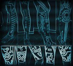 Future, Futuristic Style, Cyberpunk Clothing, Tron Clothing, Neon, Toxic, Sky Blue, Cyberpunk Blackwork (Edited)