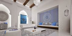 Private Villa in in Doha, Qatar. The design comes from the Mimar Interiors, and incorporates the stunning colors and contrast that are so common in Moroccan-inspired designs. design-dautore.com: Moroccan accent