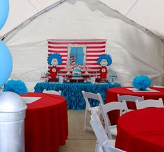 Sylvia A's Birthday / Thing One and Thing Two - Photo Gallery at Catch My Party Dr Seuss Party Ideas, Dr Seuss Birthday Party, Twin Birthday Parties, Party Themes For Boys, Baby Boy 1st Birthday, Dr Seuss Baby Shower Ideas, Birthday Celebration, Cake Birthday, 4th Birthday