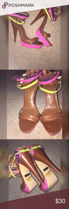 Bright Colored / Chestnut Heels  CONDITION : never worn just wore down over time in closet   APPEARANCE : a few scratches (pictures included of it), no discoloration   COLOR : Purple, Pink, Chestnut & Lime   Fit: 9  Size: 9 ALWAYS: 1-2 day shipping & use make an offer button !!!!!! ( very accepting to offers for this since there's scratches )  NOT : Trading Shiekh Shoes