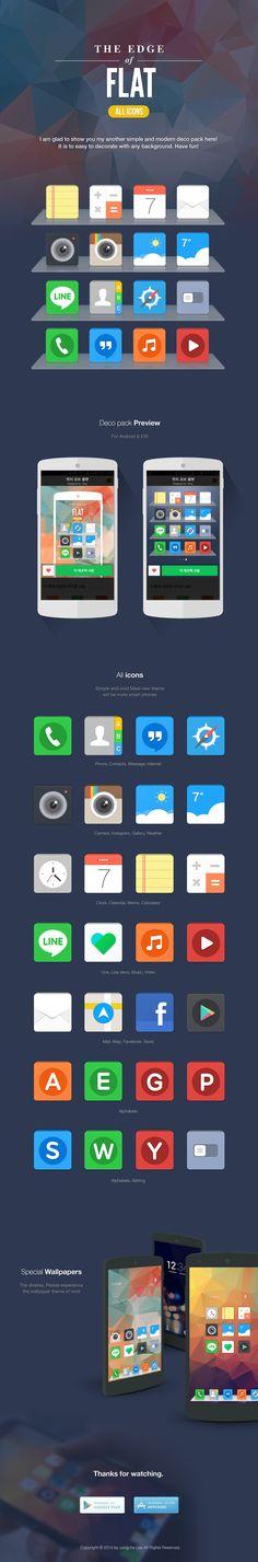 Edge of flat icon set  wallpaper for Line deco #Flat icon #smartphone theme #icon design