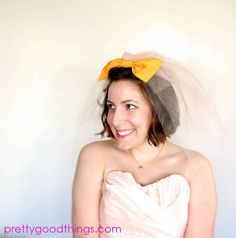 Items similar to Blusher Wedding Veil, peach veil, yellow bow // custom colors available // Vintage, Retro-inspired for the non-traditional bride on Etsy Veil Hairstyles, Wedding Hairstyles With Veil, Wedding Veils, Wedding Dresses, Blusher, Makeup For Brown Eyes, Diy Skin Care, Wedding Inspiration, Wedding Ideas