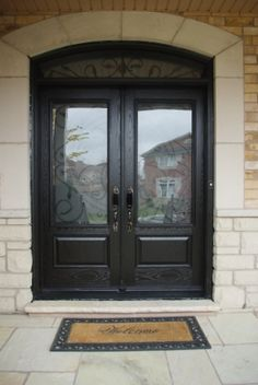 Ordinaire Fiberglass Double Door With A Transom With 3/4 Wrought Iron Glass Double Front  Entry
