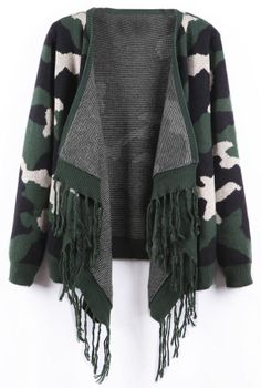 Green Camouflage Cardigan - this looks comfy and warm!
