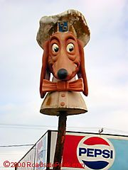 Characters Northern California/The Doggie Diner head near San Francisco was the last of the remaining signs of the old Doggie Diner. Unfortunately, this sign was blown down by a windstorm on 4/1/01.