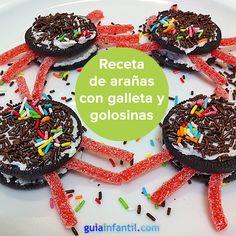 ¡Una terrorífica y divertida receta de Halloween para niños! http://www.guiainfantil.com/recetas/postres-y-dulces/halloween/aranas-terrorificas-de-galleta-y-gominola/
