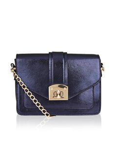 Taking you from day to night, out Dena large metallic across-body bag is designed with a gold-tone metal twist-lock fastening and an adjustable shoulder stra. Across Body Bag, Dena, British Clothing, Shoulder Bag, Metallic, Navy, Woman, Night, Purse