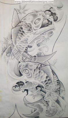 Koi Fish-Tattoo Sketches ~ Our Tattoo Shop Pez Koi Tattoo, Koi Tattoo Sleeve, Arm Tattoo, Swirl Tattoo, Clown Tattoo, Tattoo Sketches, Tattoo Drawings, Body Art Tattoos, Henna Tattoos