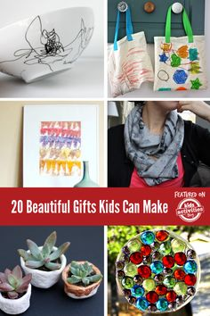 20 Beautiful Gifts Kids Can Make - simple and unique ideas for kid-made gifts.  I can't wait to have my kids do some of these!!!