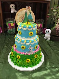 Frozen Fever birthday party cake! See more party planning ideas at CatchMyParty.com!