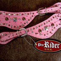 HORSE LEATHER PINK ostri WESTERN SPUR STRAPS BARREL BLING SILVER TACK RODEO SS24 Taylor