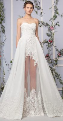 Strapless Lace Embellished Tulle Overskirt Wedding Dress but the see-through middle part is the best