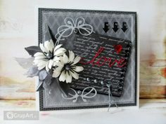 """handcrafted card from Gallery of handicrafts . shades of gray with a pop of red . """"love"""" die cut in red . Shabby Chic Cards, Love Valentines, Flower Cards, Cute Cards, Anniversary Cards, Shades Of Grey, Pattern Paper, Artificial Flowers, Handicraft"""