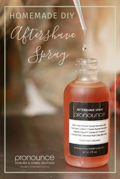 Naturally Healing DIY Aftershave Spray - This is a super easy DIY aftershave spray with only a few ingredients you likely have at home. It's effective, healing, and smells delish! • pronounceskincare.com