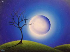 Giant Full Moon Art Print Moon Nursery Art Good Night by BingArt